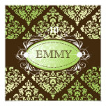 311-Luxuriously Lime Brown Damask 40 and Fabulous 5.25x5.25 Square Paper Invitation Card