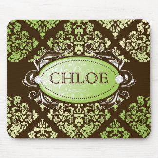 311-Luxuriously Lime Brown Damask Mouse Pad