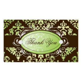 311-Luxuriously Lime Brown Damask Thank You Tags Business Card