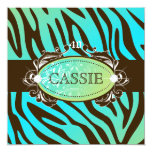 "311-Luxuriously Oceanic Zebra 40 and Fabulous 5.25"" Square Invitation Card"