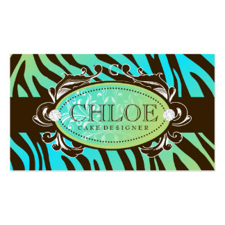 311 Luxuriously Oceanic Zebra Monogram Double-Sided Standard Business Cards (Pack Of 100)