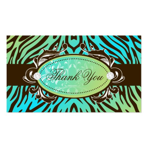 311-Luxuriously Oceanic Zebra Thank You Tags Business Card