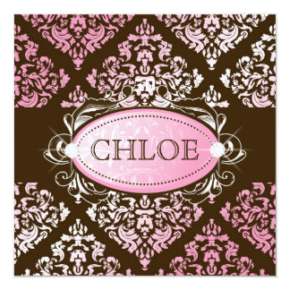 311-Luxuriously Pink Brown Damask 50 and Fabulous Card