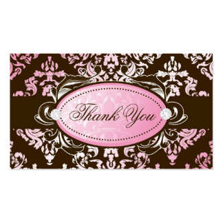 311-Luxuriously Pink Brown Damask Thank You Tags Business Card