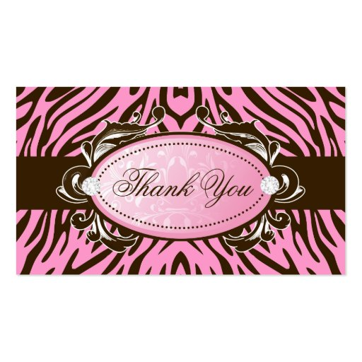 311-Luxuriously Pink Brown Zebra Thank You Tags Business Card