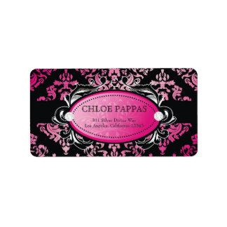 311-Luxuriously Pink Damask Label Address Label