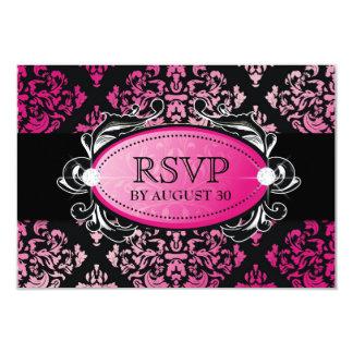 311-Luxuriously Pink Damask RSVP Card