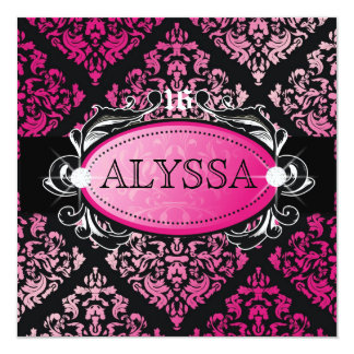 """311 Luxuriously Pink Damask Sweet 16 5.25"""" Square Invitation Card"""