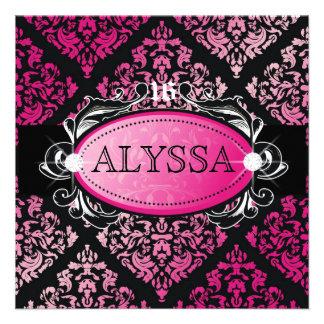 311 Luxuriously Pink Damask Sweet 16 Invite