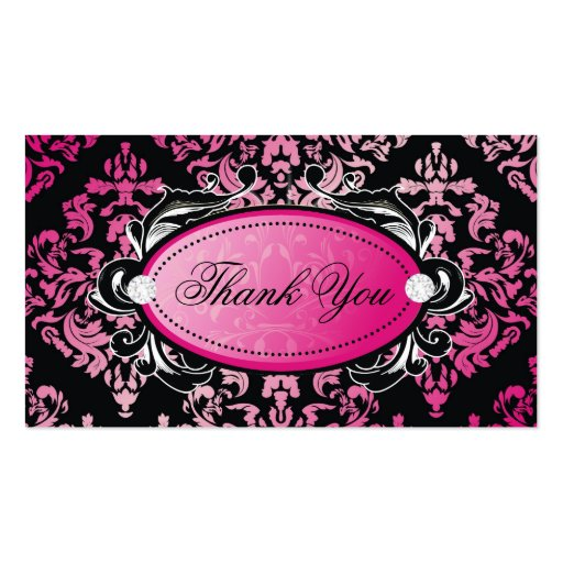 311 Luxuriously Pink Damask Thanks You Hang Tags Business Card