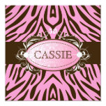 "311 Luxuriously Pink N Brown Zebra 50 and Fabulous 5.25"" Square Invitation Card"