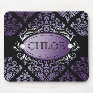 311-Luxuriously Purple Damask Mouse Pad