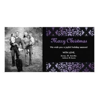 311-Luxuriously Purple Damask Photo Card