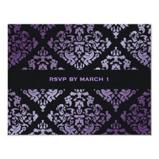 311-Luxuriously Purple Damask RSVP 4.25x5.5 Paper Invitation Card