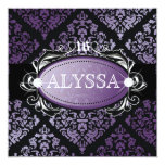 311 Luxuriously Purple Damask Sweet 16 Announcements