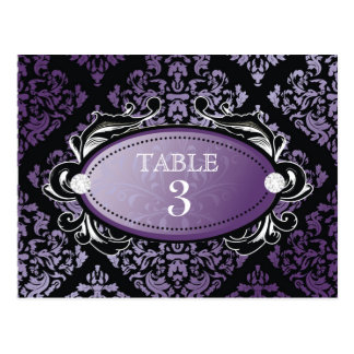 311 Luxuriously Purple Damask Table Card Postcards