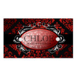 311 Luxuriously Red Liquorice Damask Monogram Business Card