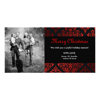 311-Luxuriously Red Liquorice Damask Photo Card