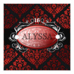 311 Luxuriously Red Liquorice Damask Sweet 16 Card