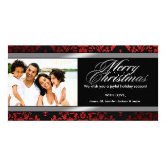 311-Luxuriously Red Liquorice Silver Damask Customized Photo Card