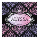 311 Luxuriously Sweetheart Damask Sweet 16 5.25x5.25 Square Paper Invitation Card