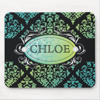 311-Luxuriously Turquiose Lime Damask Mouse Pad
