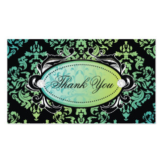 311-Luxuriously Turquoise Damask Thank You Tags Business Card