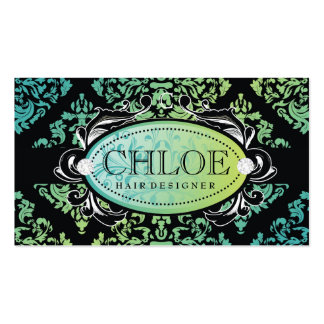 311-Luxuriously Turquoise n Lime Damask Monogram Business Card Templates