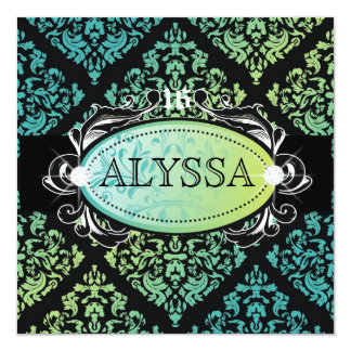 311-Luxuriously Turquoise n' Lime Damask Sweet 16 5.25x5.25 Square Paper Invitation Card