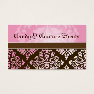 311 Luxuriously Vincelette Damask 2 Pink Brown Business Card