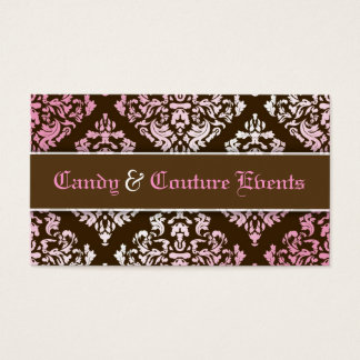 311 Luxuriously Vincelette Damask Pink Brown Business Card