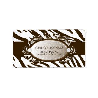 311 Luxuriously White Chocolate Zebra Label Address Label