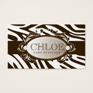 311 Luxuriously White Chocolate Zebra Monogram Business Card