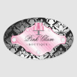 311 Luxury Cakes Damask Shimmer Oval Stickers