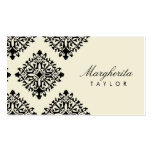 311 Margherita Cream et Blanc Damask Double-Sided Standard Business Cards (Pack Of 100)