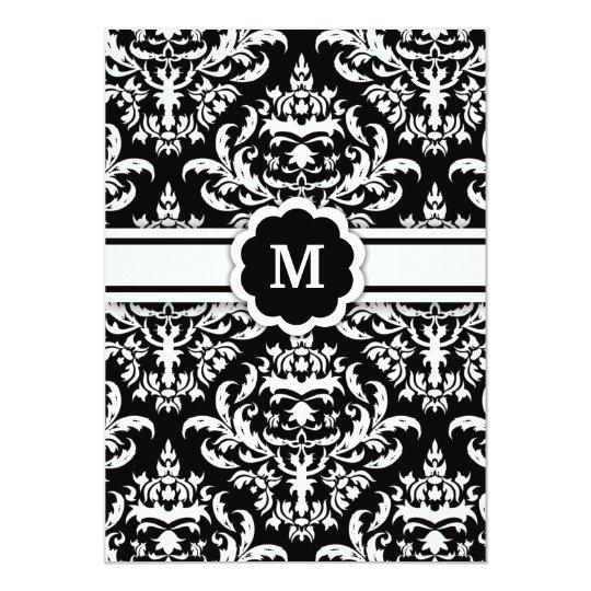 311-Marissa Monogram Damask Black Card