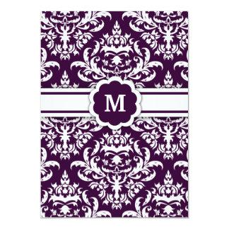 311-Marissa Monogram Damask Eggplant Card