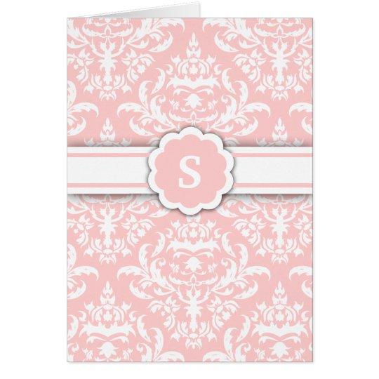 311-Marissa Monogram Damask Light Pink Card