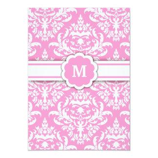 311-Marissa Monogram Damask Pink Card