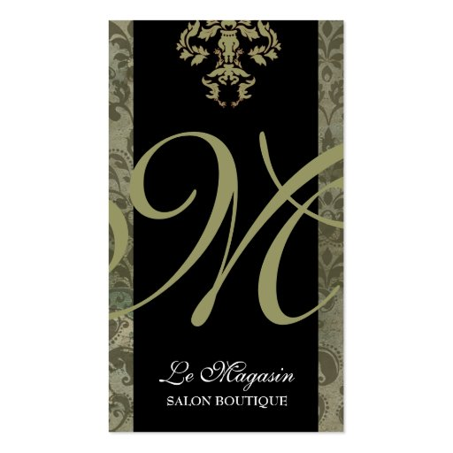 311-Marley Monogram Money Green Business Cards