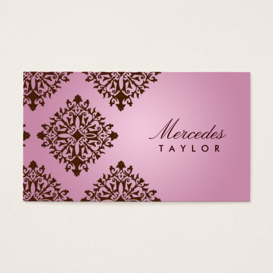 311 Mercedes Pink & Chocolate Damask Business Card