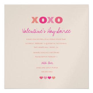 311-Metallic XOXO Hearts in a Row Personalized Invite