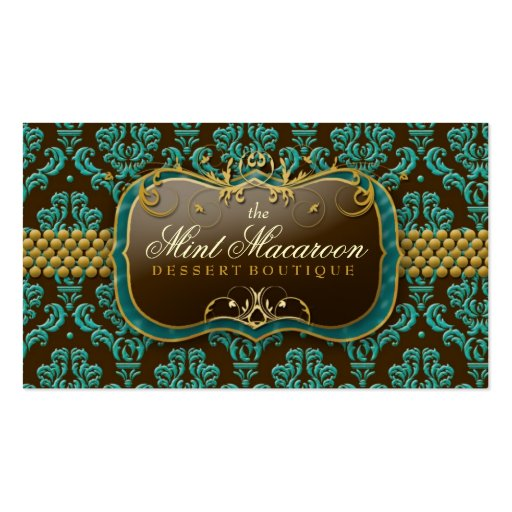 311-Mint Macaroon Damask Double-Sided Standard Business Cards (Pack Of 100)