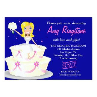 311 Miss Wright 2 Blonde Cobalt Blue 5x7 Paper Invitation Card