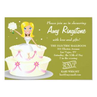 311 Miss Wright 2 Blonde Moss Green 5x7 Paper Invitation Card