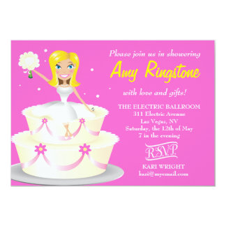 311 Miss Wright 2 Blonde Pink 5x7 Paper Invitation Card