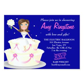 311 Miss Wright 2 Brunette Cobalt Blue 5x7 Paper Invitation Card