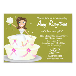 311 Miss Wright 2 Brunette Moss Green 5x7 Paper Invitation Card