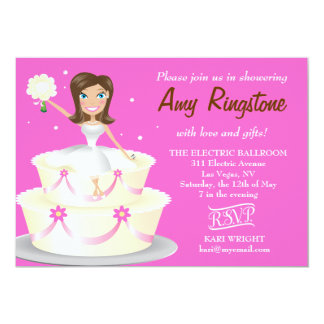 311 Miss Wright 2 Brunette Pink 5x7 Paper Invitation Card
