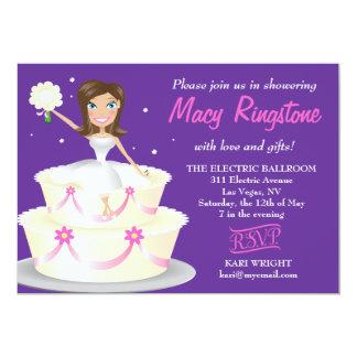 311 Miss Wright 2 Brunette Purple 5x7 Paper Invitation Card